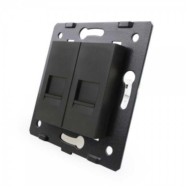 Puerto 2tel EU Livolo sin marco de cristal color negro para libre montaje