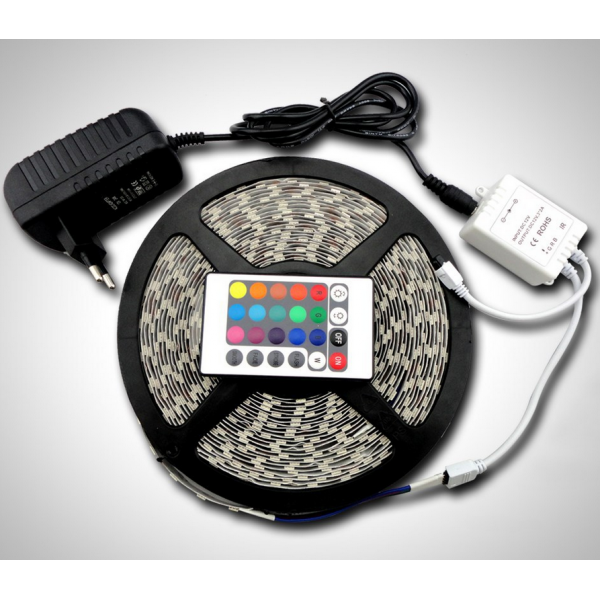 Cinta tira led 5M autoadhesivo RGB luces bajo consumo flexible 12V adaptador