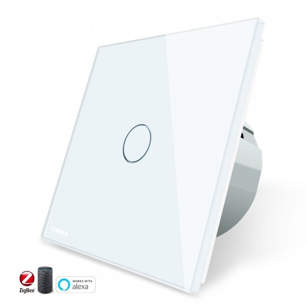 Interruptor TACTIL APP INTELIGENTE ALEXA ( funciona con Gateway )  Simple de Cristal Luz de Pared Color Blanco EU STANDARD