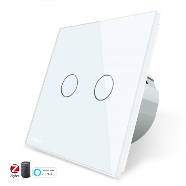 Interruptor doble TACTIL APP INTELIGENTE ALEXA ( funciona con Gateway )  Simple de Cristal Luz de Pared Color Blanco EU STANDARD