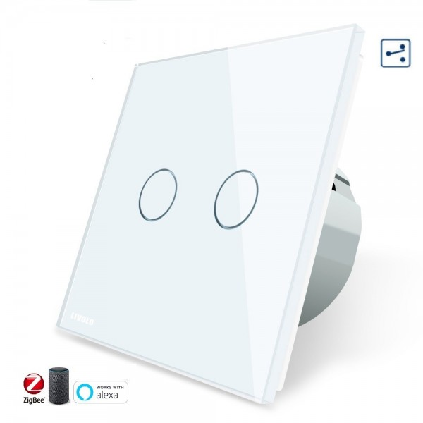 Conmutador doble TACTIL APP INTELIGENTE ALEXA ( funciona con Gateway )  Simple de Cristal Luz de Pared Color Blanco EU STANDARD