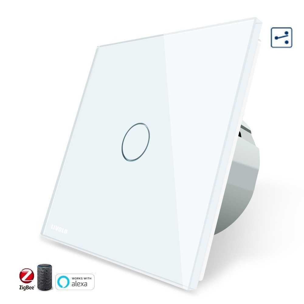 Conmutador TACTIL APP INTELIGENTE ALEXA ( funciona con Gateway )  Simple de Cristal Luz de Pared Color Blanco EU STANDARD