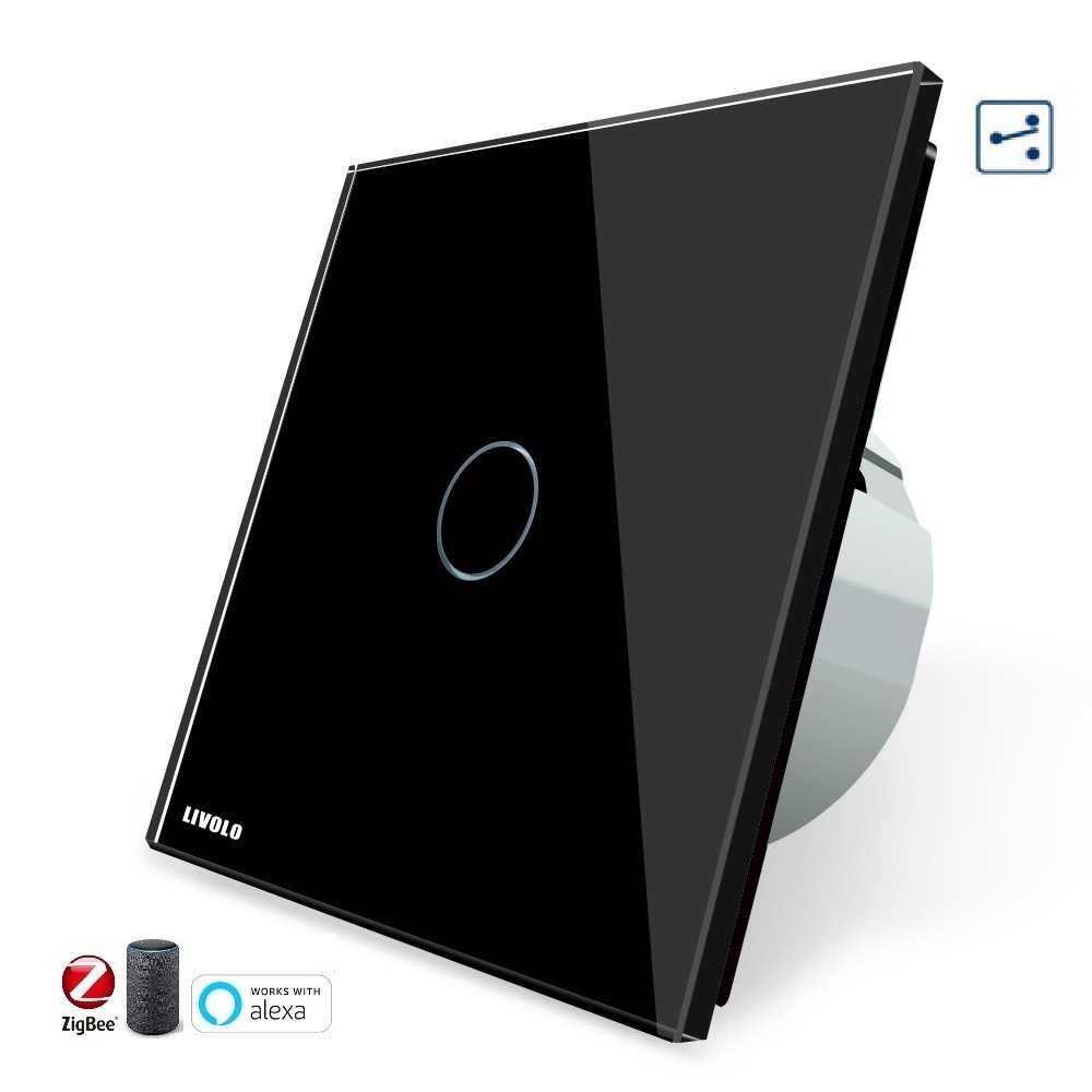 Conmutador TACTIL APP INTELIGENTE ALEXA ( funciona con Gateway )  Simple de Cristal Luz de Pared Color Negro EU STANDARD