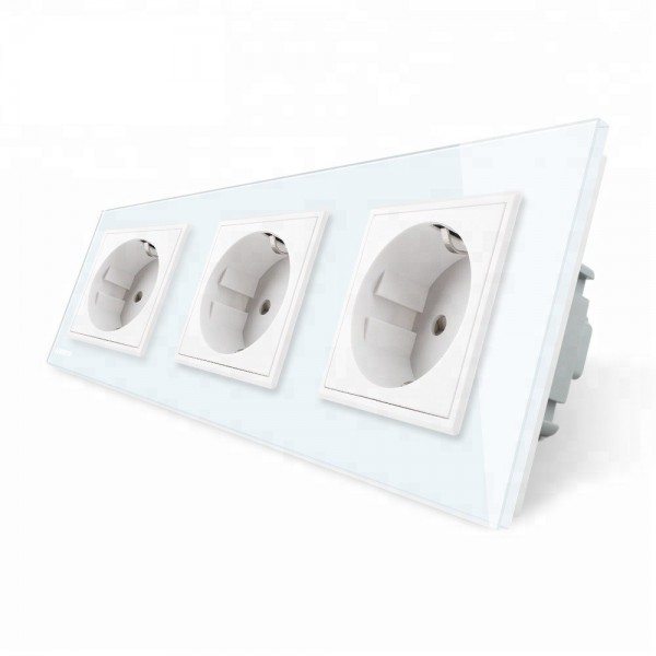 Enchufe Tomacorriente Livolo 3 tomas de pared de cristal color Blanco EU Standard