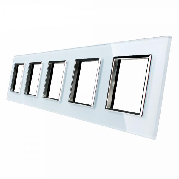5 marcos panel de cristal blanco Livolo EU Standard para complementos de libre montaje
