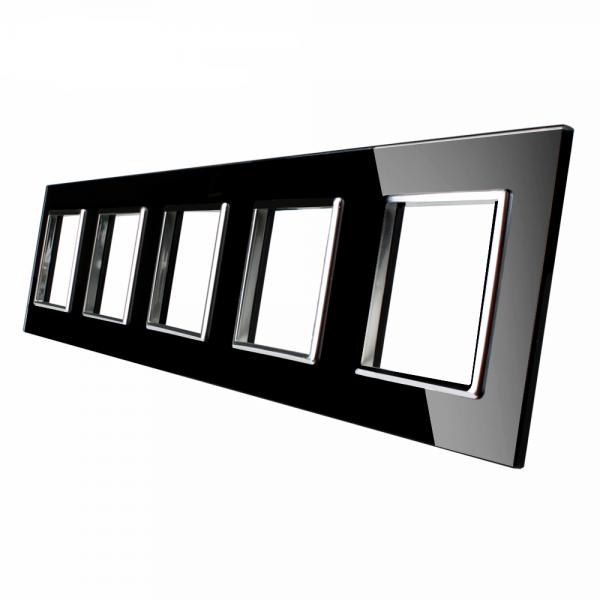 5 marcos panel de cristal negro Livolo EU Standard para complementos de libre montaje