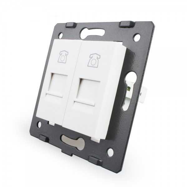 Puerto Tel+Tel sin marco de cristal Livolo color blanco EU Standard para libre montaje