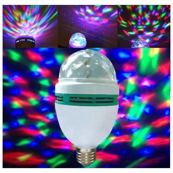 Bombilla de luz LED RGB 3W rotativo E27 multicolores para fiestas, animaciones, cumpleaños