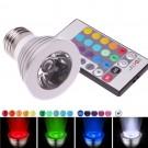 Bombilla de luz LED RGB 3W 60 grados E27 multicolores para fiestas, animaciones, cumpleaños
