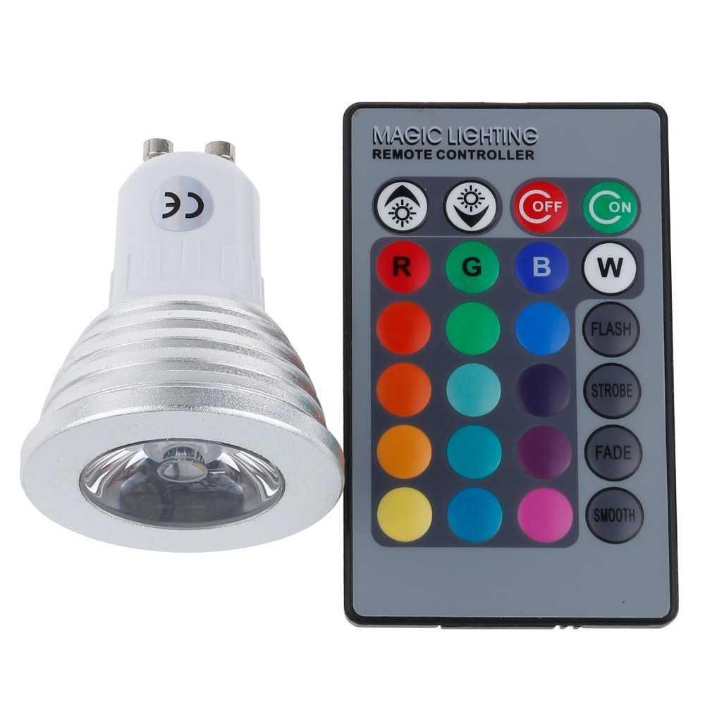 Bombilla de luz LED RGB gu10 3W 60 grados multicolores para fiestas, animaciones, cumpleaños