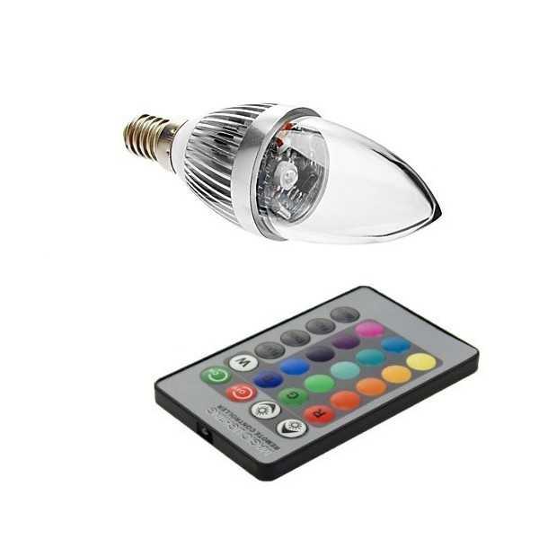 Bombilla de luz LED RGB E14 3W 60 forma vela multicolores para fiestas, animaciones, cumpleaños