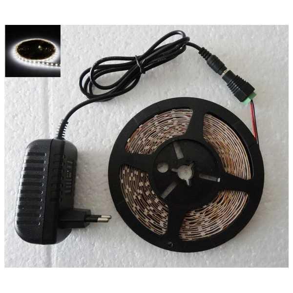Cinta tira led 5M autoadhesivo blanco frio luces bajo consumo flexible 12V adaptador