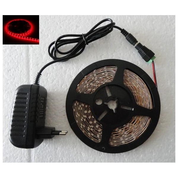 Cinta tira led 5M autoadhesivo rojo luces bajo consumo flexible 12V adaptador
