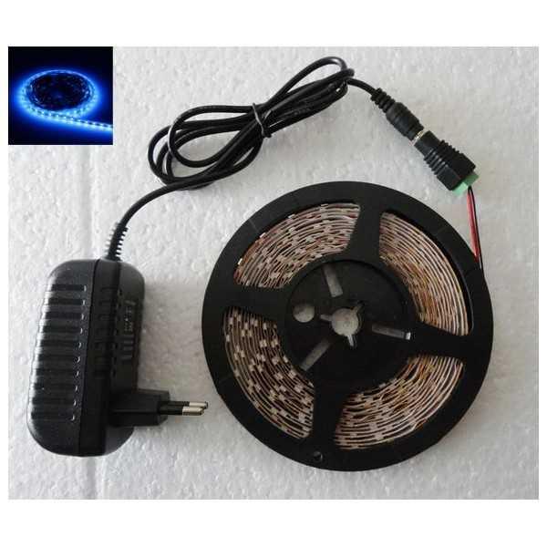 Cinta tira led 5M autoadhesivo azul luces bajo consumo flexible 12V adaptador