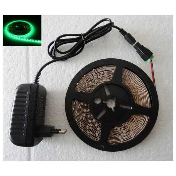 Cinta tira led 5M autoadhesivo verde luces bajo consumo flexible 12V adaptador